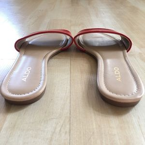 Aldo Shoes - Aldo red patent minimalist slides like-new size 6